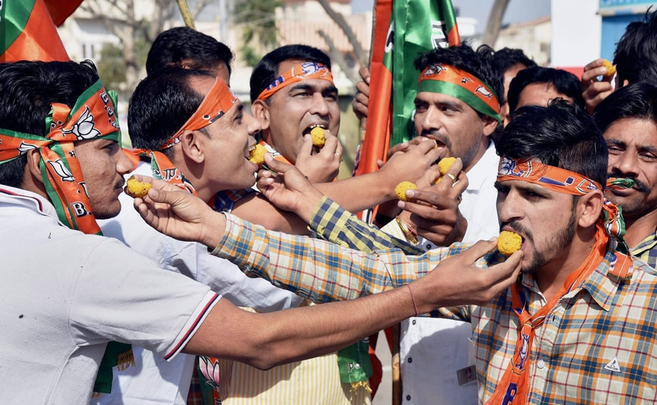 Early trends suggested the BJP is on its way to form the government in Uttar Pradesh after a hiatus of 15 years. PTI