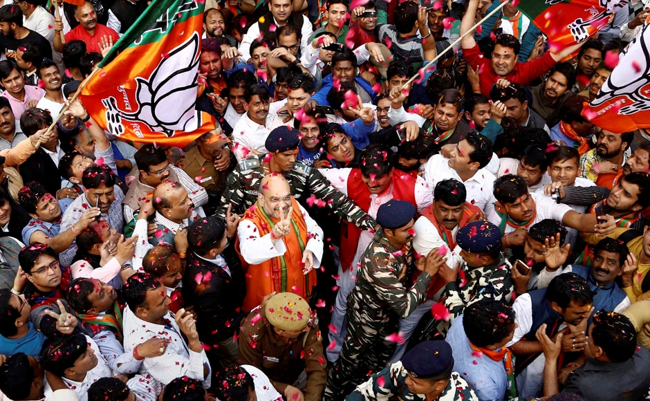 "Shah hailed Prime Minister Narendra Modi as the country's ""tallest leader"" since Independence and credited his pro-poor polices for the party's landslide win in Uttar Pradesh and Uttarakhand. PTI"