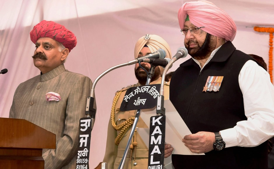 Congress leader Captain Amarinder Singh, who led the Congress to victory in Punjab after a gap of 10 years, was on Thursday sworn-in as the chief minister in Chandigarh. PTI