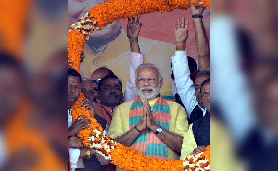 "Modi said the electorate has already ensured BJP's victory in the first five phases and now they would give surplus votes as ""gift and bonus"" in the remaining two rounds. PTI"