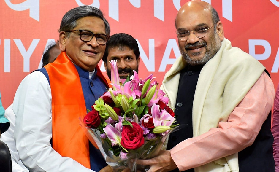 Krishna formally became a member of the Bharatiya Janata Party in the presence of party president Amit Shah. The former Karnataka chief minister left the Congress earlier saying he was feeling neglected.