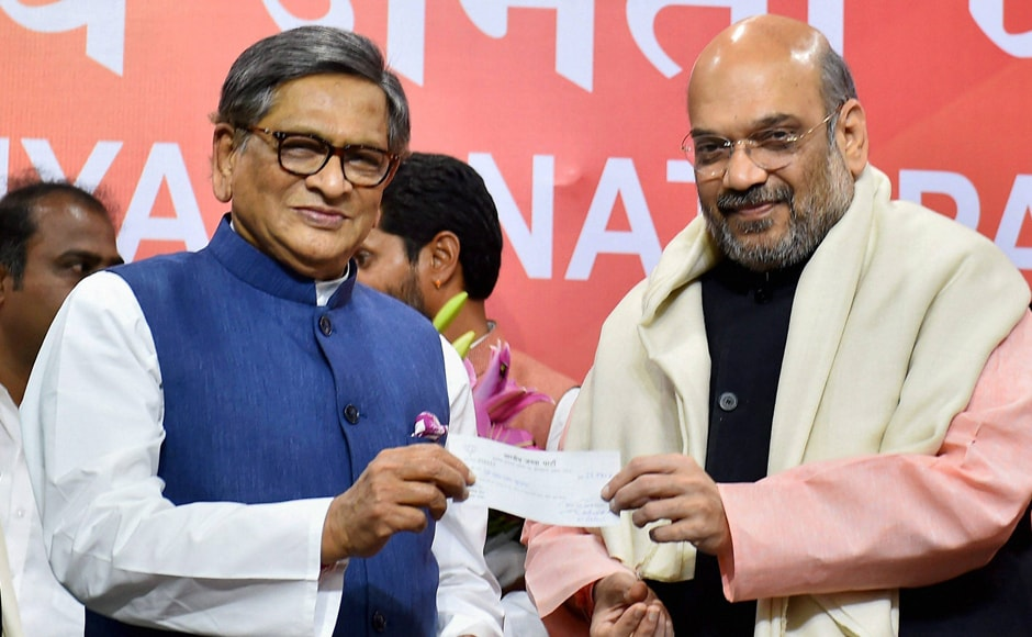Congress leader and former Karnataka Chief Minister SM Krishna on Wednesday joined the BJP and heaped praise on Prime Minister Narendra Modi. BJP President Amit Shah presented the party membership slip to Krishna in New Delhi. PTI