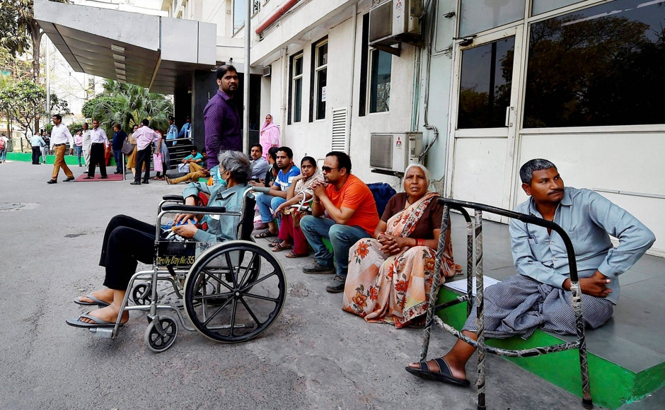 In New Delhi too, patients were seen waiting outside Sir Ganga Ram Hospital as Doctors were on strike to display solidarity with the protest of the resident doctors in Maharashtra. PTI