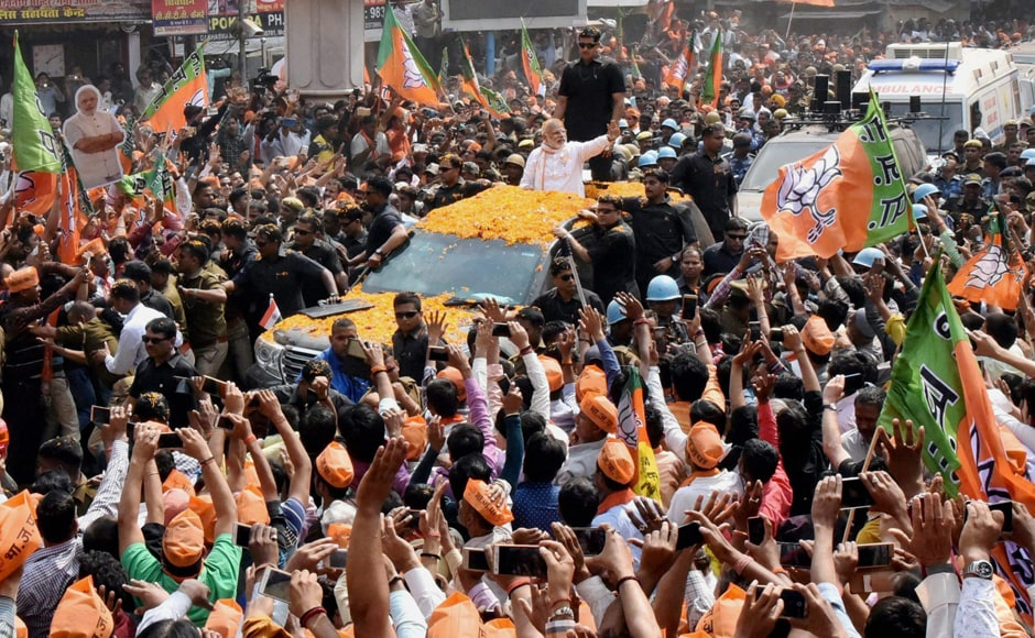 Modi's roadshow came on a day when the sixth phase of polling in 49 constituencies, including Gorakhpur and Azamgarh in the state was underway. PTI