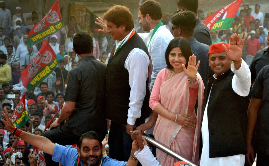 Samajwadi Party president and Chief Minister Akhilesh Yadav along with Congress vice president Rahul Gandhi undertook a roadshow in Varanasi on Saturday. PTI