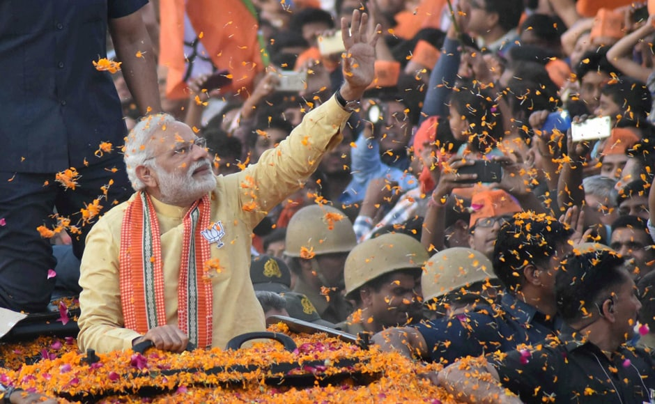 Prime Minister Narendra Modi resumed his mega-show in Varanasi on Sunday, culminating in a rally where he hit out against the opposition and promised to turn the cityaround into a modern world class metropolis. PTI