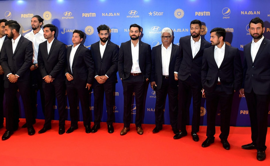 Cricketer Virat Kohli with teammates during the BCCI Annual Awards night in Bengaluru on Wednesday. PTI
