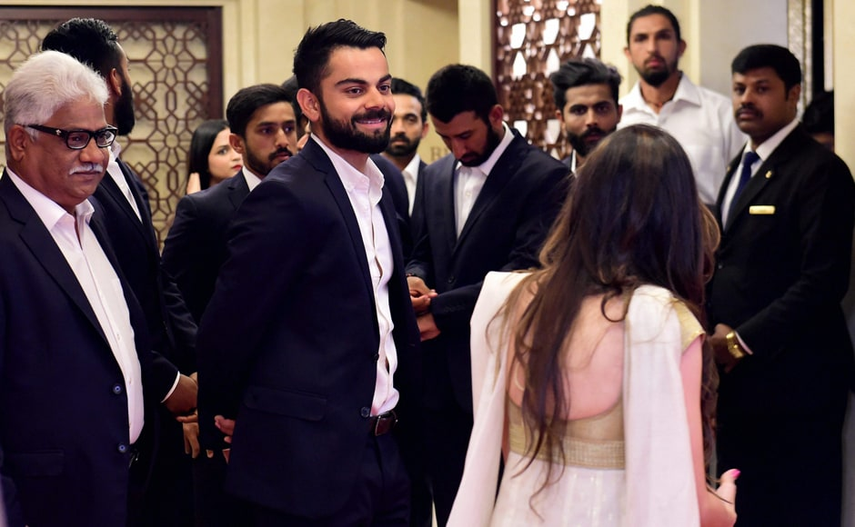 Virat Kohli with others during the BCCI Annual awards in Bengaluru on Wednesday. PTI