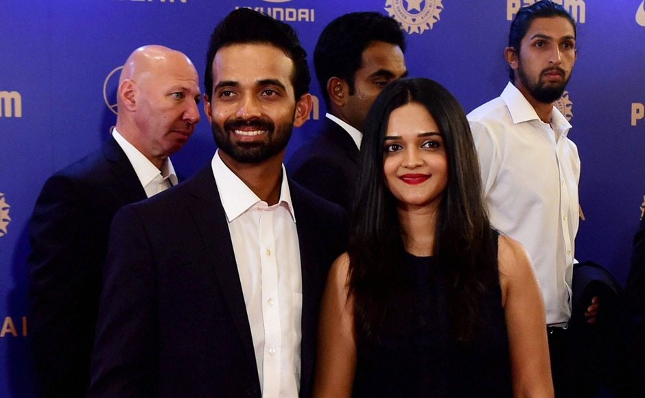 Ajinkiya Rahane with wife during the BCCI Annual awards in Bengaluru on Wednesday. PTI