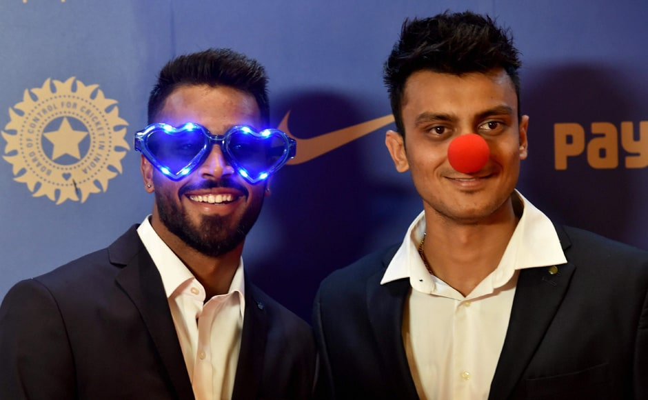 Hardik Pandya and Axar Patel during the BCCI Annual awards in Bengaluru on Wednesday. PTI