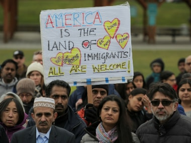 A vigil in honor of Srinivas Kuchibhotla, an immigrant from India who was recently shot and killed in Kansas, at Crossroads Park in Bellevue, Washington. Reuters