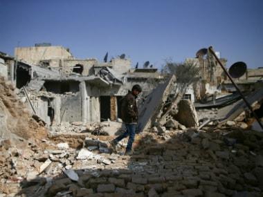 Damaged buildings in the rebel held besieged Douma neighbourhood of Damascus, Syria. Reuters