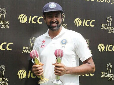 Ravichandran poses with the two ICC awards that were presented to him following India's series win. Image courtesy: Ravichandran Ashwin via Twitter