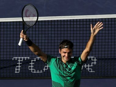 Roger Federer celebrates his win over Stan Wawrinka at Indian Wells. Getty