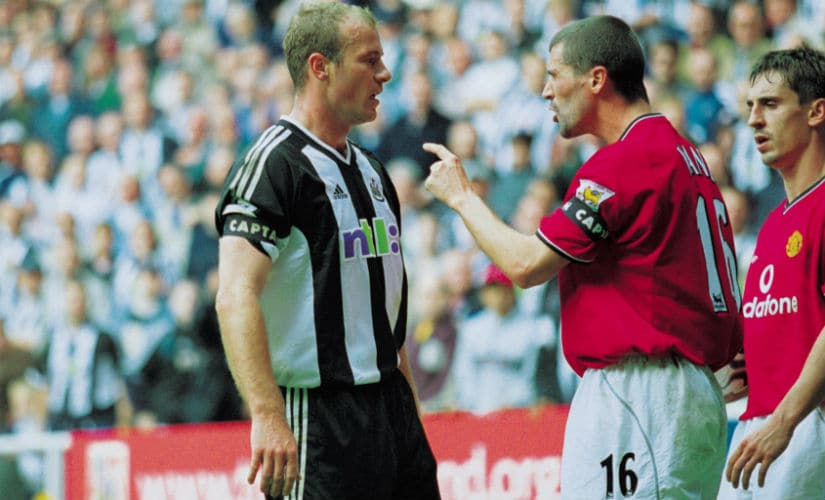 Shearer argues with Roy Keane during the FA Barclaycard Premiership match between Newcastle United and Manchester United at St James' Park in 2001. Image courtesy: Gary M Prior /Allsport