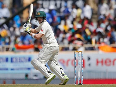 Australia's captain Steven Smith plays a shot during the first day of their third test cricket match against India. AP