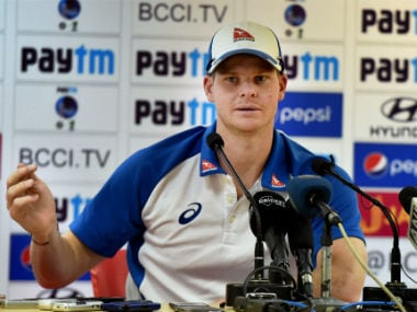 Steve Smith addresses the media before the fourth Test in Dharmasala. PTI