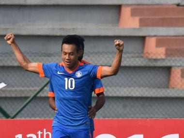India's Udanta Singh celebrates after scoring in the 2016 South Asian Games semi-final against Bangladesh. AFP