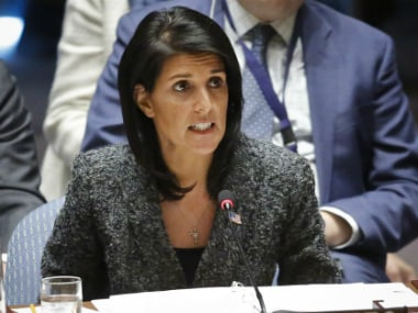 US Ambassador Nikki Haley speaks in the Security Council. AP