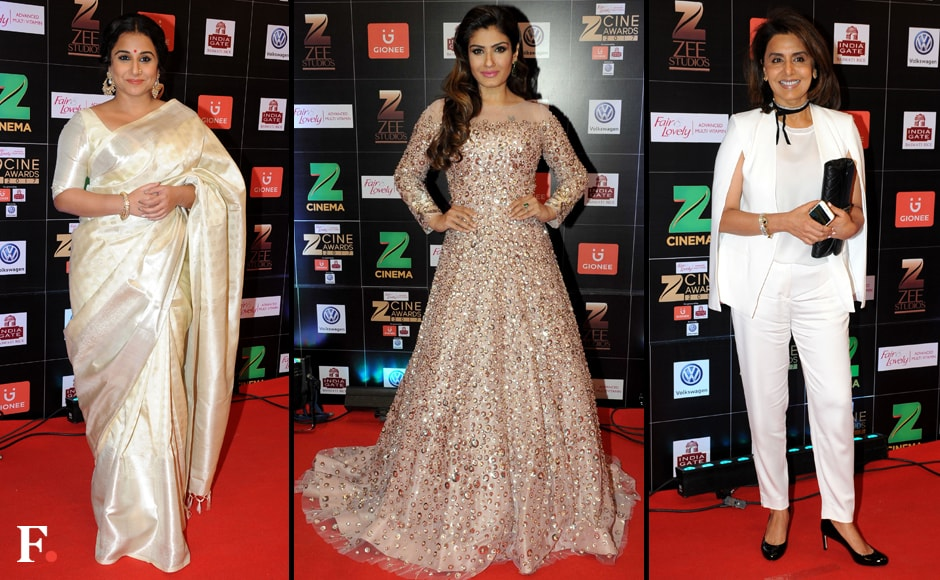 The Zee Cine Awards 2017 were held in Mumbai on Saturday night. Vidya Baland, Raveena Tandon and Neetu Singh Kapoor. Sachin Gokhale/Firstpost