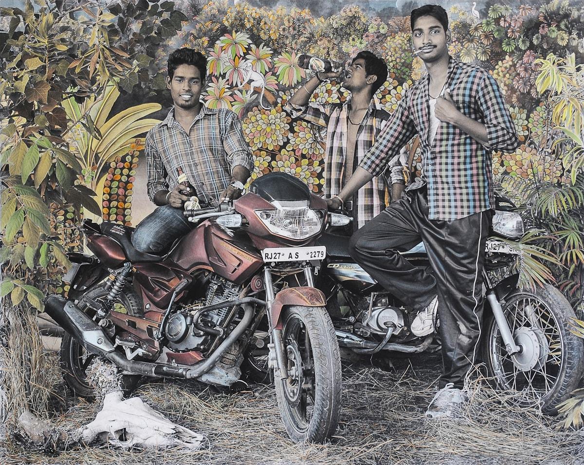 Waswo X. Waswo (with Rajesh Soni) Bike Boys Hand-coloured black and white digital print 2015 Courtsey Tasveer