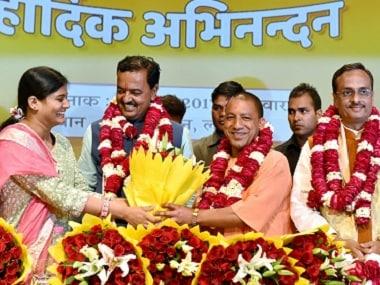 Yogi Adityanath (centre) with BJP leaders Anupriya Patel, KP Muriya and Dinesh Sharma. PTI