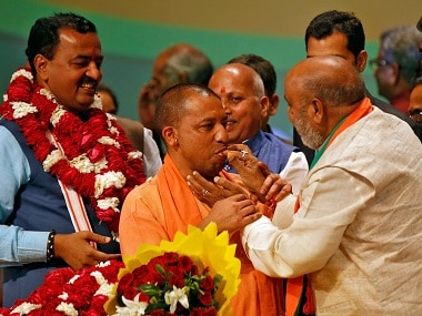 BJP party president Amit Shah with Uttar Pradesh Chief Minister Yogi Adityanath. Reuters