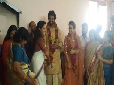 The leaked picture from Bhavana and Naveen's engagement ceremony. Twitter