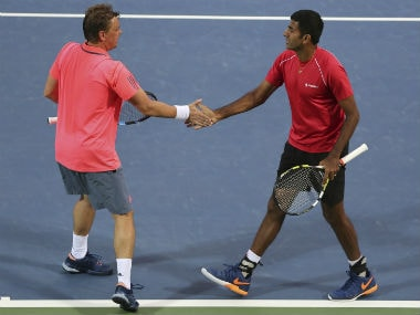 Rohan Bopanna (R) and Poland's Marcin Matkowski lost a close final in Dubai. AP