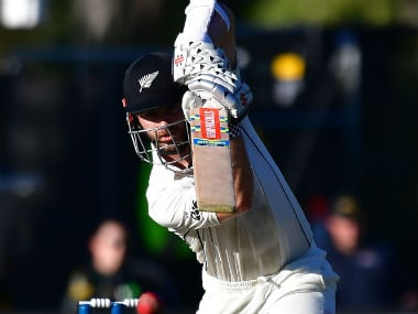 Kane Williamson bats during day two of the 1st Test between New Zealand and South Africa in Dunedin. AFP