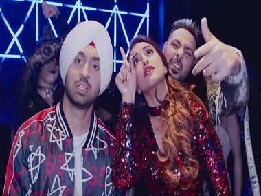 Diljit Dosanjh, Sonakshi Sinha and Badshah in a still from Noor