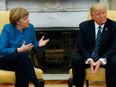 President Donald Trump and German Chancellor Angela Merkel at the White House on Friday. AP