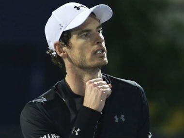 Andy Murray celebrates after beating Fernando Verdasco in the final of the Dubai Tennis Championships. AP