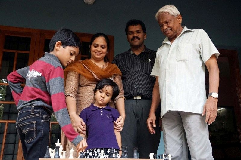 Nihal, his mother and sister Neha, his father and grandfather.