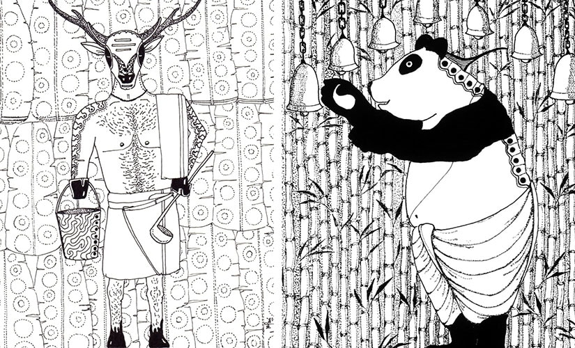 Sambar and Panda. Illustrations by Nitin Mani
