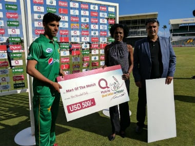 Shadab Khan receiving the Man of the Match award after the 1st T20I against West Indies. Image courtesy: Twitter/@TheRealPCB