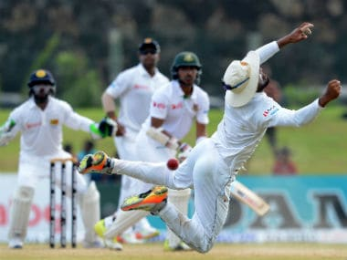 Action between Sri Lanka and Bangladesh on day four of the first Test at Galle. AFP