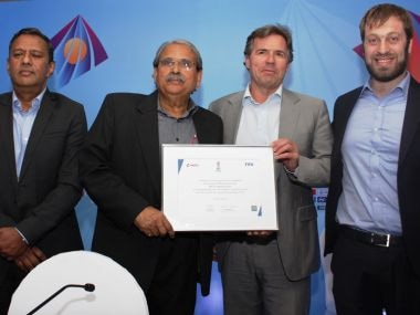 FIFA's Chief Commercial Officer Philippe Le Floc'h (second from right) in New Delhi on Thursday.