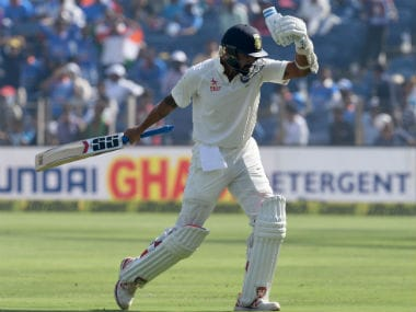 Murali Vijay reacts after his dismissal on Day 2 of the first Test between India and Australia in Pune. AFP