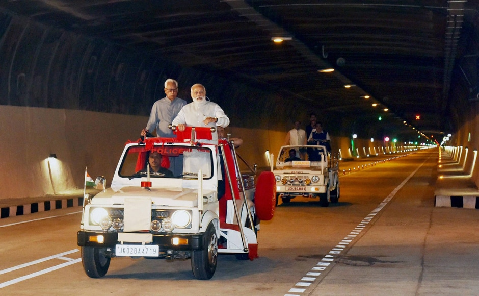 Prime Minister Narendra Modi on Sunday inaugurated the country's longest road tunnel that links Kashmir Valley with Jammu by an all-weather route and reduces the distance by 31 kms. After the inauguration, Modi, along with Vohra and Mehbooba, travelled in an open jeep through the tunnel for some distance. PTI