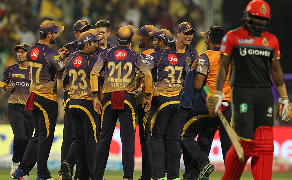 Chris Woakes of Kolkata Knight Riders celebrates the wicket of Chris Gayle as Royal Challengers Bangalore lost another crucial wicket during match 27 of the Vivo 2017 Indian Premier League. Photo by Prashant Bhoot - Sportzpics - IPL