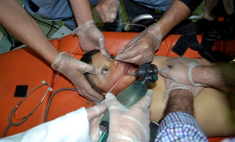 A boy affected by what activists say was a gas attack on the town of Telminnes in Syria. Reuters