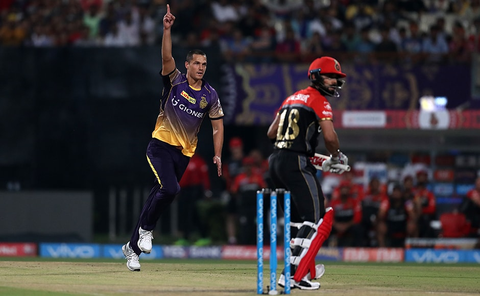 Nathan Coulter-Nile of the Kolkata Knight Riders all pumped up after getting the better of Royal Challengers Bangalore captain Virat Kohli during match 27 of the Vivo 2017 Indian Premier League between the Kolkata Knight Riders and the Royal Challengers Bangalore held at the Eden Gardens Stadium in Kolkata, India on the 23rd April 2017<br />Photo by Ron Gaunt - Sportzpics - IPL