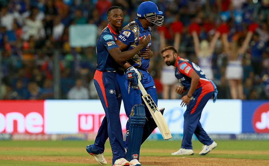 Kieron Pollard of MI and Kagiso Rabada of DD during match 25 of the Vivo 2017 Indian Premier League between the Mumbai Indians and the Delhi Daredevils held at the Wankhede Stadium in Mumbai, India on the 22nd April 2017<br />Photo by Rahul Gulati - Sportzpics - IPL