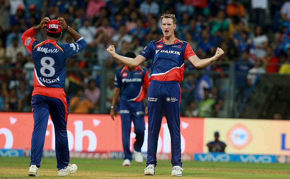 Chris Morris of DD celebrates the wicket of Jos Buttler's run out! Mumbai were in deep trouble right at the start. Photo by Rahul Gulati - Sportzpics - IPL