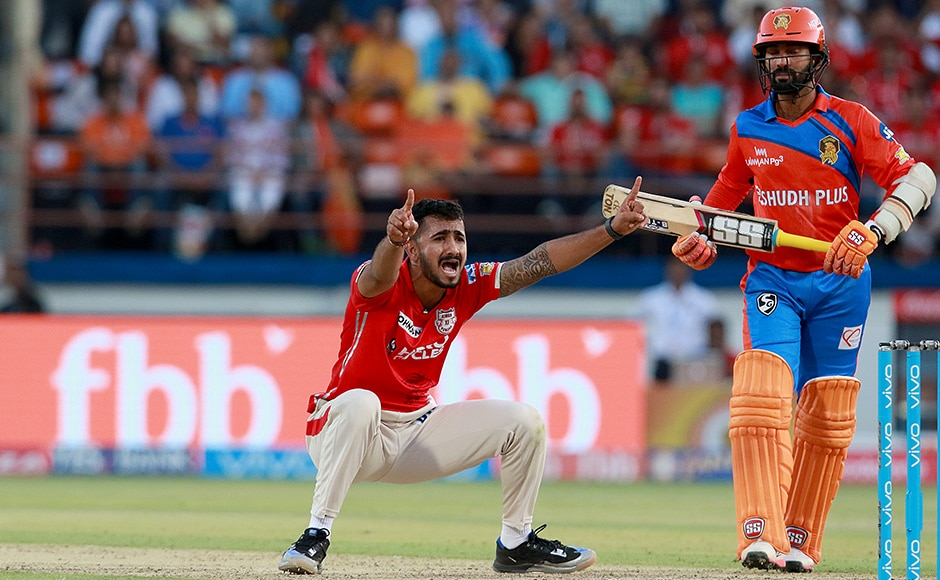 KC Cariappa of KXIP appeals as Dinesh Karthik believes he is safe during match 26 of the Vivo 2017 Indian Premier League.<br />Photo by Rahul Gulati - Sportzpics - IPL