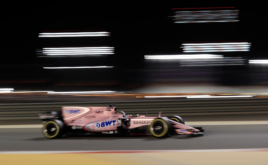 Force India driver Sergio Perez during the Bahrain Grand Prix. Perez finished seventh for Force India, his 13th successive points finish while French rookie Esteban Ocon bagged the final point. AP