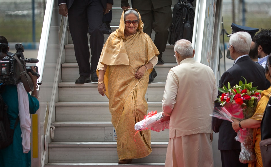 Bangladesh Prime Minister Shiekh Hasina arrived in New Delhi on Friday on a four-day visit during which she will hold wide-ranging talks with PM Narendra Modi, who was at the airport to receive her as a special gesture. AP