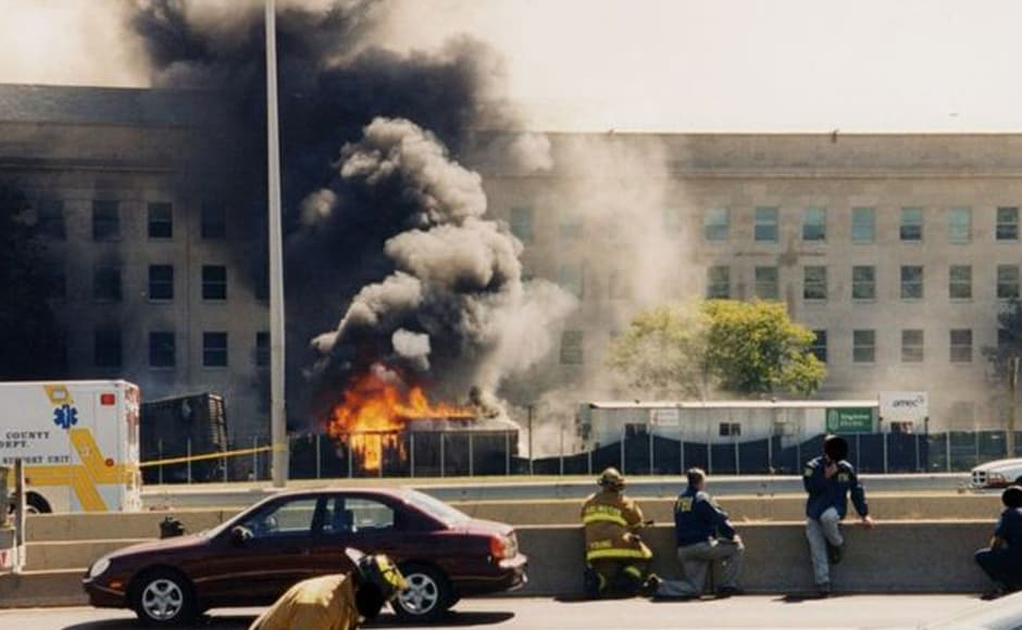 "A set of never-before-seen photos showing the devastation at the Pentagon following the 9/11 attacks has been released by the FBI. This image was named ""Pentagon Emergency Response"". Photo courtesy: FBI"