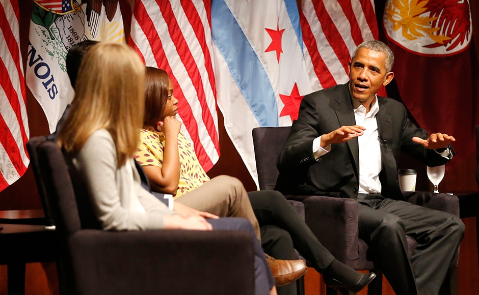 It's the former president's first public event of his post-presidential life in the place where he started his political career. Obama advised young people on leadership, managing social media and even marriage. AP